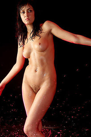 Wet And Naked Girl In The Studio
