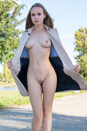 Beautiful Blonde Angel Spreads Pussy By The River